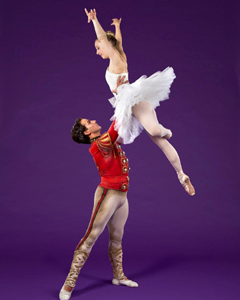Leads for State Street Ballet's The Nutcracker are Ryan Camou as the Nutcracker Prince and Season Winquest as the Sugar Plum Fairy.