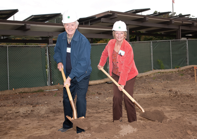 <p>Carol and Dr. Joe Dobbs participate in a ceremonial turning of the dirt at a groundbreaking ceremony for the Casas Verdes expansion at Valle Verde. The couple have reserved a home in the new expansion, where all 40 new residences have already been reserved.</p>