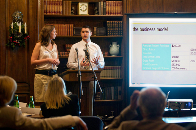 <p>A Westmont College student venture team makes a presentation at last year&#8217;s Collegiate Entrepreneurs Business Plan Competition.</p>