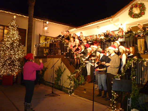 The San Marcos High School Madcapella Choir performs Wednesday night at the Tree Lighting Christmas Concert at New Life Church in Santa Barbara. (Kim Clark / Noozhawk photo)