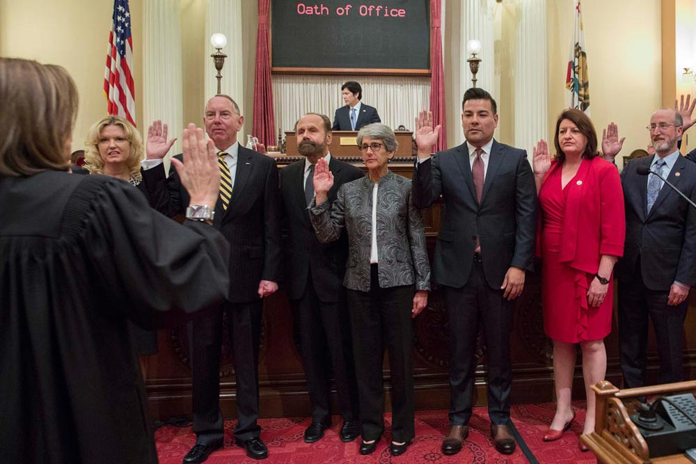 State Senator Hannah-Beth Jackson, D-Santa Barbara, center, began introducing her bill package the day she took the oath of office for her second term.