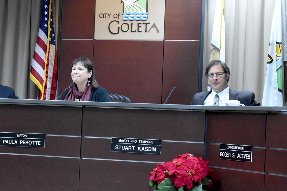 Both Paula Perotte and Stuart Kasdin will serve another year-long term as mayor and mayor pro tempore, respectively, of the city of Goleta. City voters will choose the next mayor in 2018.