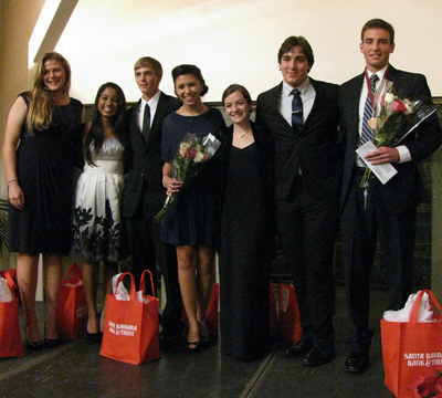 The 2012 Goleta Teen of the Year finalists are, from left, Lauren VanValkenburgh, Nimisha Shinday, Duncan Proctor, runner-up Mallary McCauley, Sofia Lochner, Zacharias Garza and winner Forbes Bainou, all local high school seniors. (Giana Magnoli / Noozhawk photo)