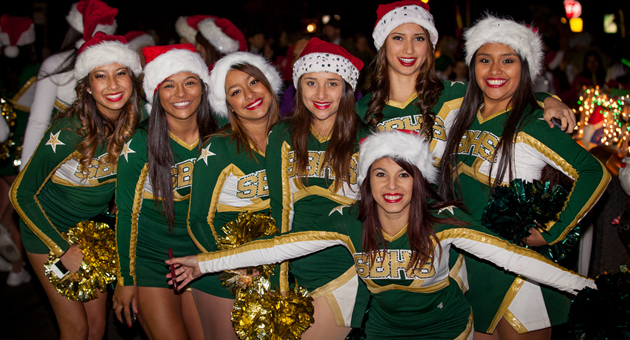 Santa Barbara High School cheerleaders brought their school and holiday spirit to the 61st annual Downtown Holiday Parade in Santa Barbara.