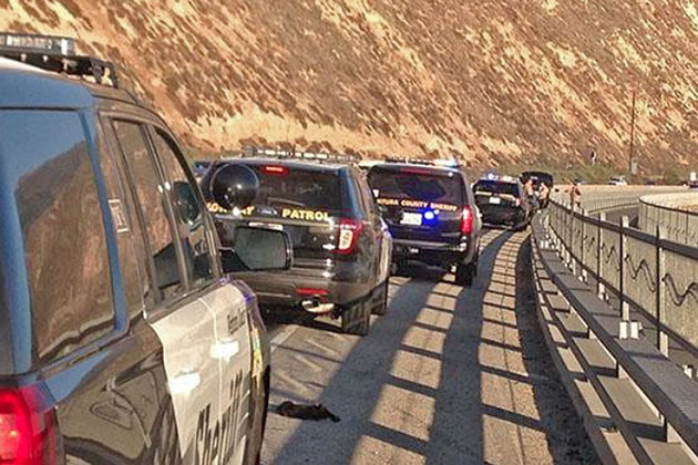 California Highway Patrol and Ventura County sheriff's units responded to southbound Highway 101 near the Rincon on Sunday after a body was found in a vehicle parked alongside the freeway.