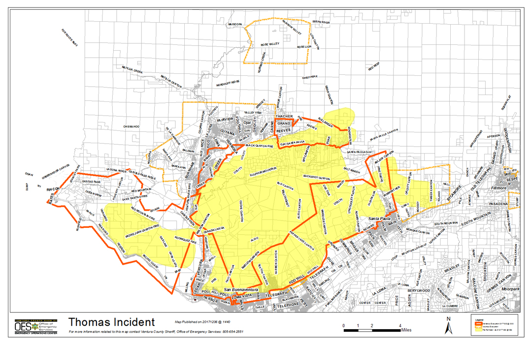 County Line 2 Fire Map.300 Carpinteria Area Residents Evacuated As Thomas Fire Grows To