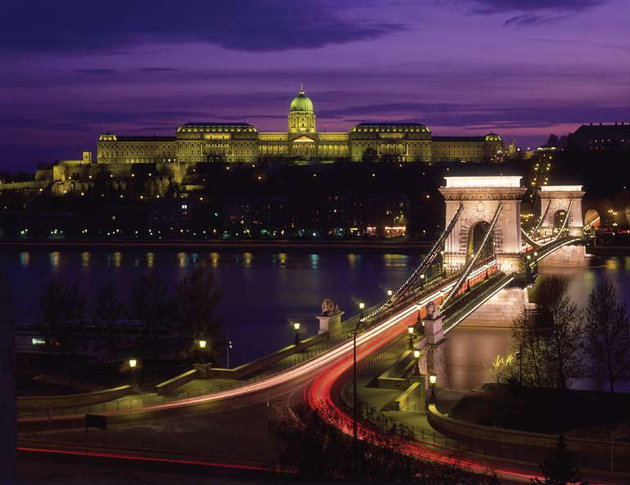 <p>A commanding view of the Chain Bridge over the Danube River and the sprawling Royal Palace in Budapest, Hungary. <a href=