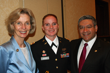 Rep. Lois Capps, D-Santa Barbara, Missing Man Ceremony presenter and Army Capt. Carolyn Alexa Wagnild, and Santa Barbara County First District Supervisor Salud Carbajal. (Melissa Walker / Noozhawk photo)