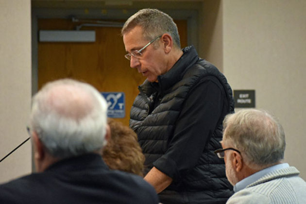 The Rev. Randall Day from St. Mark's-in-the-Valley Episcopal Church speaks Thursday in support of creating a community-services district in Los Olivos to address the community's wastewater problems.