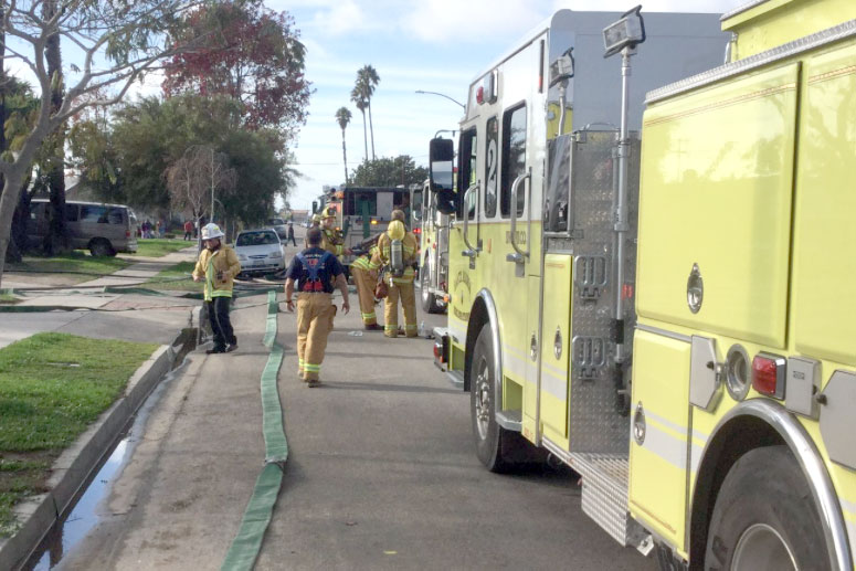 Six residents were displaced on Friday after a fire damaged a home in northwest Santa Maria.