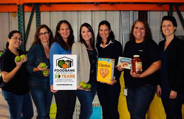 Christen Portillo, from left, of Yardi Systems, Camie Cohee Barnwell and Heather Lahr of Citrix Online, Erin Ervin and Ariana Arcenas-Utley of Deckers Outdoor Corp., and Anna Markmann of Yardi with Jane Lindsey, chief development and resource officer for the Foodbank of Santa Barbara County, represent just some of the local companies participating in the Foodbank's annual Corporate Food & Funds Drive Challenge. (Foodbank of Santa Barbara County photo)