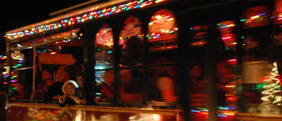 <p>Santa Barbara Trolley Co.&#8216;s annual Trolley of Lights Tour takes passengers on a 90-minute ride in a classic open-air trolley through Santa Barbara neighborhoods decked out in festive lights and décor.</p>