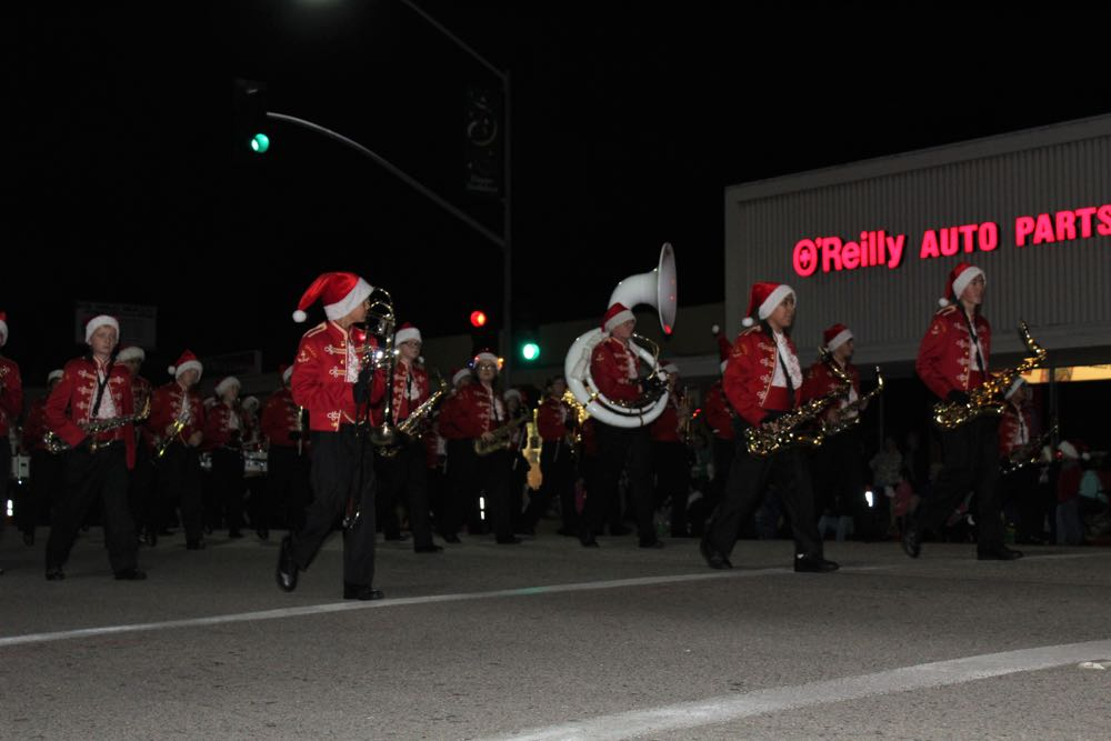 The Goleta Valley Junior High School marching band serenaded parade-goers with Christmas tunes.