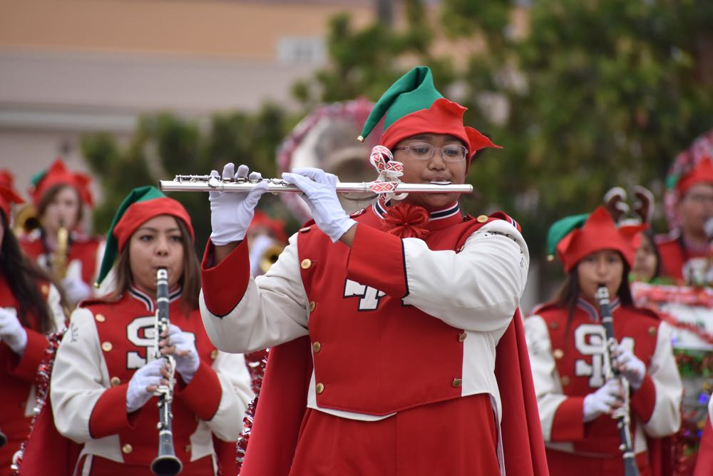 The Santa Maria High School Saints Marching Band paraded their way through Old Town Orcutt on Saturday during the 55th Annual Old Town Orcutt Christmas Parade.