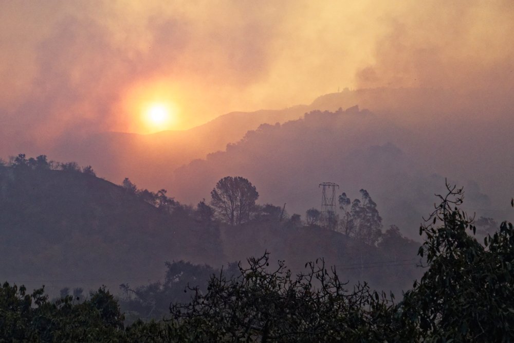 Smoke from the Thomas Fire darkens the skies in southern Santa Barbara County on Sunday.