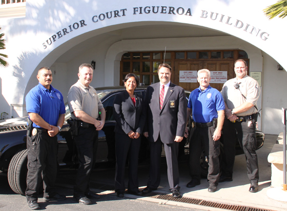 Members of Santa Barbara County's new full-time AB109 Compliance Response Teams include, from left, probation officer Jose Macedo, Deputy Win Smith, probation Chief Beverly Taylor, Sheriff Bill Brown, probation officer Harry Wright and Deputy Seth Woodill. (Santa Barbara County Sheriff's Department photo)
