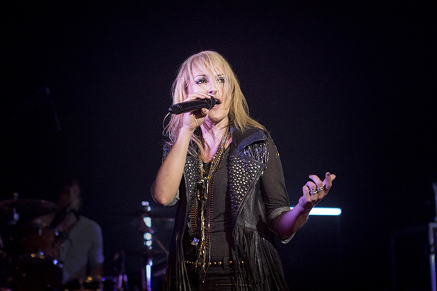 Emily Haines of Metric performs Monday night at the Arlington Theatre as part of KjEE 92.9's Winter Round-up, also featuring Tegan and Sara, Youngblood Hawke and Beware of Darkness. (Garrett Geyer / Noozhawk photo)
