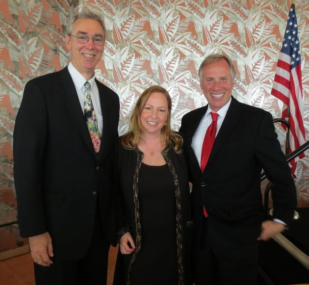 Incoming Santa Barbara Association of Realtors board president Laurel Abbott with master of ceremonies Paul Hurst, right, and 2002 president Bob Hart at the 105th Annual Awards and Recognition Luncheon held at the Coral Casino. (Rochelle Rose / Noozhawk photo)