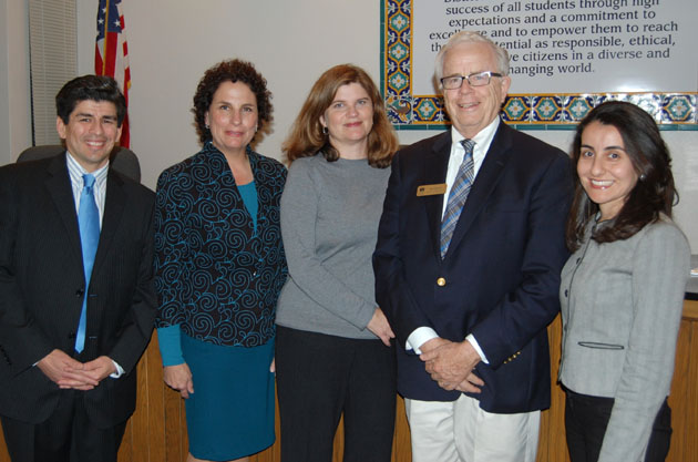<p>Newly elected Santa Barbara school board members Dr. Pedro Paz, left, and Gayle Eidelson, second from left, join members Kate Parker, Ed Heron and Monique Limon for Tuesday night&#8217;s meeting.</p>