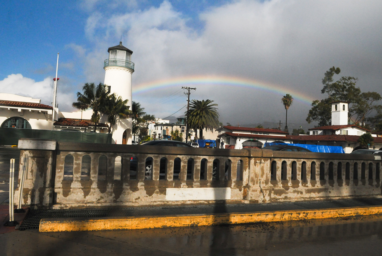 A rainbow breaks through over Cabrillo Blvd. on Friday morning just after the rain stopped.
