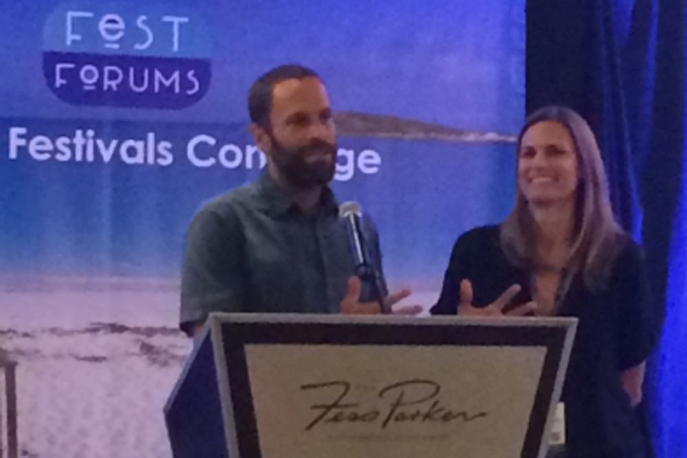 "Music star Jack Johnson and his wife, Kim, participate in the ""Sustainable Events"" panel discussion at the FestForums convention Nov. 19-21 at the Fess Parker DoubleTree Resort in Santa Barbara. The Johnsons also received an award for their contributions to music and sustainability, in part for their reusable pint glass pilot program."