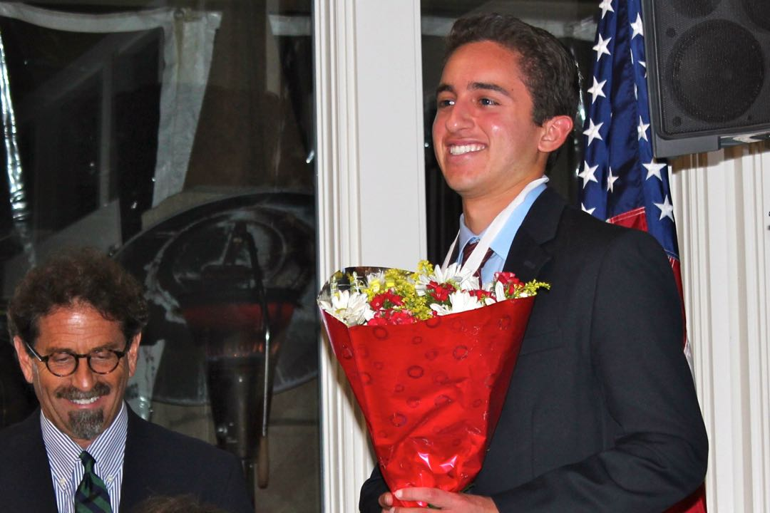 Nathan Alvarez, a senior and ASB president at Dos Pueblos High School, was honored Sunday night by the Rotary Club of Goleta Noontime's 2015 Goleta Teen of the Year. Noozhawk publisher Bill Macfadyen, left, co-emceed the program at Glen Annie Golf Club.