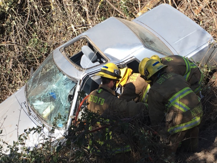A man suffered moderate injuries in a crash over the side of Harris Grade Road Wednesday afternoon. One of the three dogs in the vehicle was declared dead at the scene, according to the Santa Barbara County Fire Department.