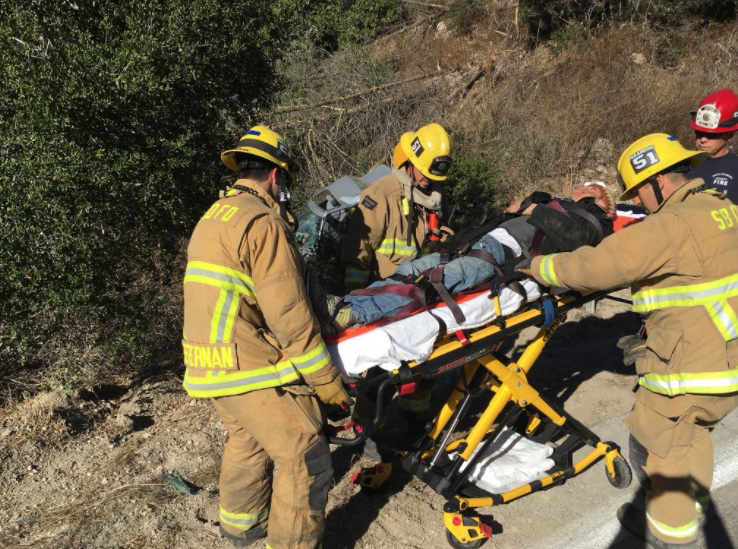 A man suffered moderate injuries in a crash over the side of Harris Grade Road Wednesday afternoon.