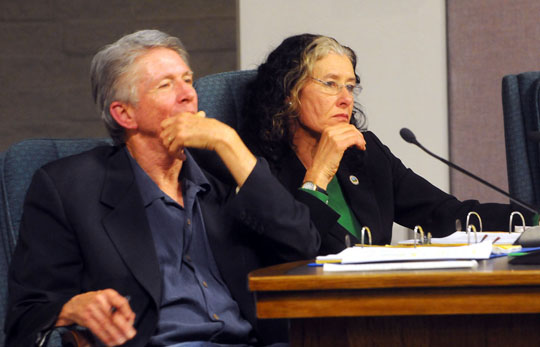 <p>Carpinteria City Council members Al Clark and Kathleen Reddington listen to public comment Monday on Venoco&#8217;s slant-drilling project and related ballot initiative.</p>