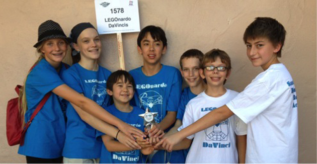 <p>The LEGOnardo Da Vincis of Santa Barbara Homeschool Robotics Academy include, left to right, Jade Mueller-Gailbrath, Marissa Condie, Michael Therrien, Christopher Therrien, Micah Condie, Matthew Helkey and Hunter Christenson.</p>