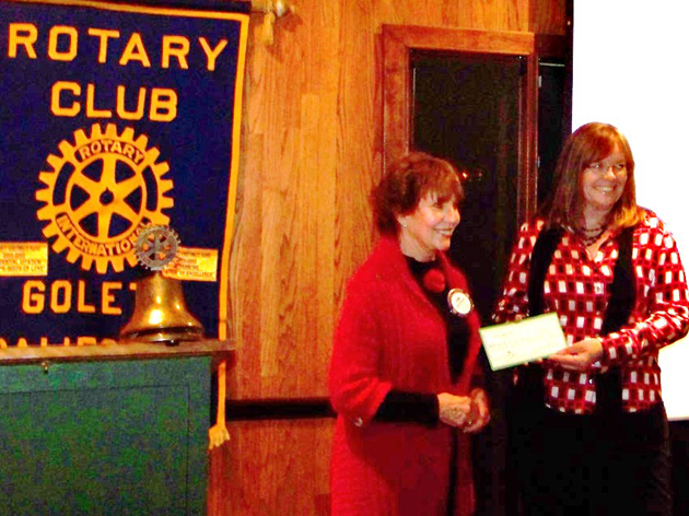 <p>Rotary Club of Goleta member and CASA advocate Lynn Cederquist, left, presents a $500 check to CASA Director Kim Davis for the organization&#8217;s annual Children&#8217;s Holiday Party.</p>