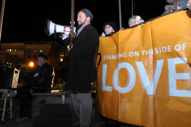 Imam Yama Niazi of the Islamic Society of Santa Barbara, speaking at an inter-faith gathering in De La Guerra Plaza in Santa Barbara Monday night, asserted that 'Islam has never been a religion of hate and violence.'