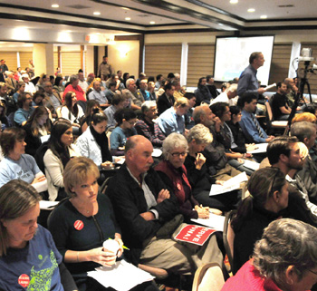 Hundreds of people packed the Hotel Mar Monte conference room to hear the California Fish and Game Commission weigh in on Marine Protection Areas.