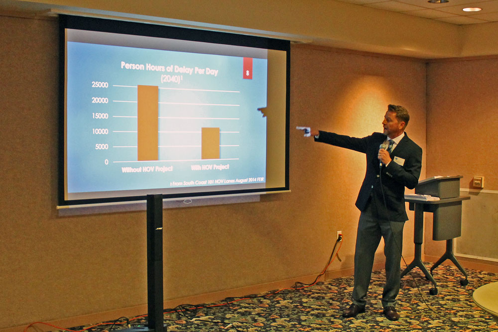Project manager David Emerson reviews the reasons for the Highway 101 widening and its expected effects at a public meeting in Santa Barbara Thursday evening.