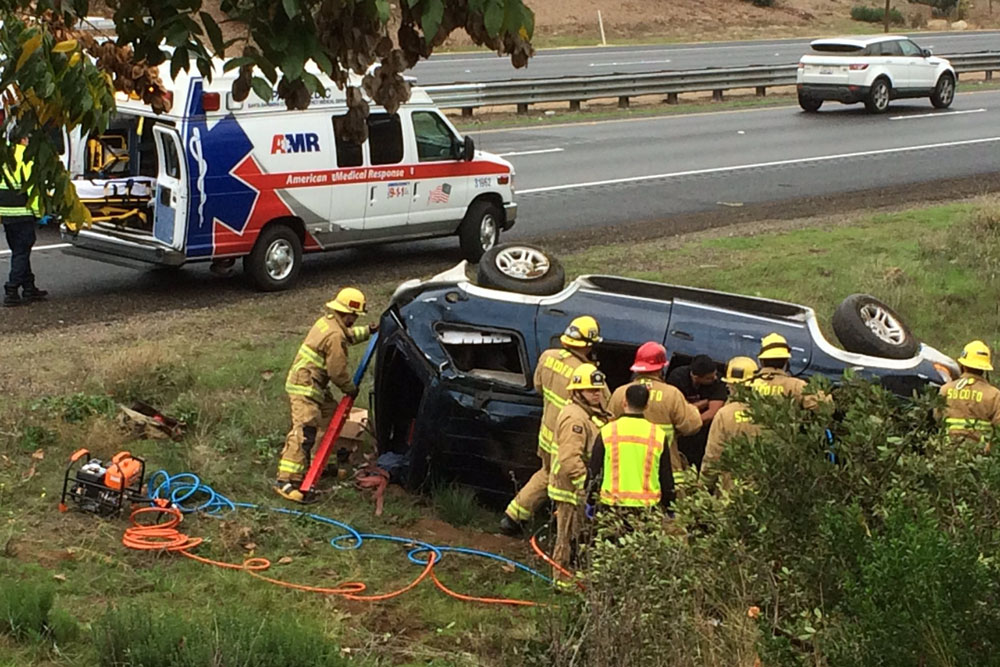 The driver of an SUV sustained minor injuries Thursday in a rollover accident on Highway 101 in Goleta.