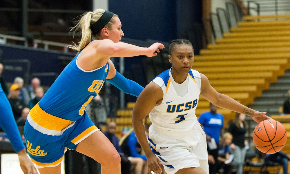 UCSB's Makala Roper dribbles while being pressured by UCLA's Nicole Kornet during Wednesday's game at the Thunderdome.