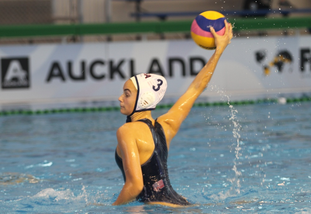 Jewel Roemer of Team USA rises high out of the water for a shot during a 21-0 win over Germany. Romer, a freshman at Dos Pueblos, scored four goals.