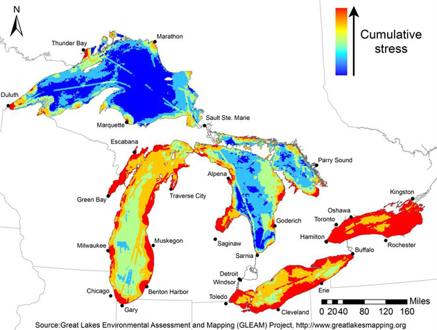 Great Lakes cumulative stress map. (Great Lakes Environmental Assessment and Mapping (GLEAM) Project map)