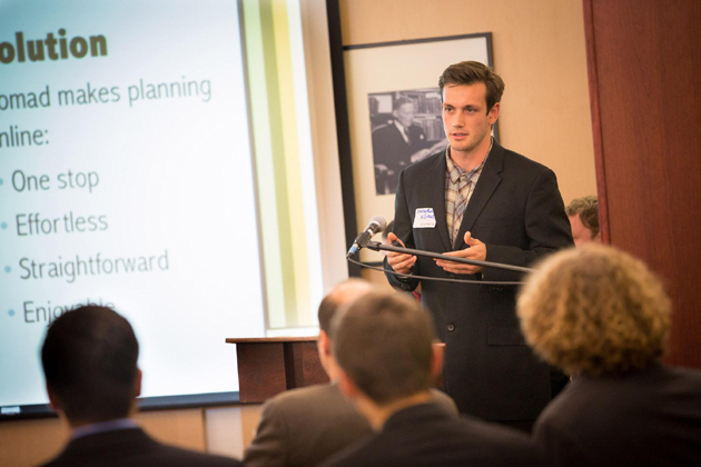 Sterling Montes presents his plan for Nomad.com at the 23rd annual Westmont Collegiate Entrepreneurship Business Plan Competition on Dec. 6. (Westmont College photo)
