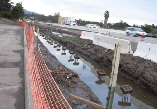 A four-year construction project to widen Highway 101 in Santa Barbara, as seen from the Salinas Street onramp, could be halted after the state's Pooled Money Investment Board voted Wednesday to halt infrastructure funding until June. Crews broke ground on the local four-year upgrade about a year ago.