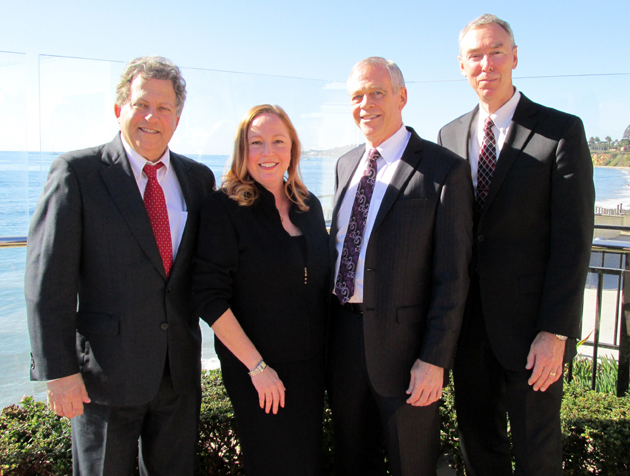 Real estate commissioner Wayne Bell, left, outgoing president Laurel Abbott, incoming president Ed Fuller and new Board of Realtors executive director Bob Hart enjoy a postcard-perfect day at the Santa Barbara Association of Realtors' annual Installation and Awards Luncheon.
