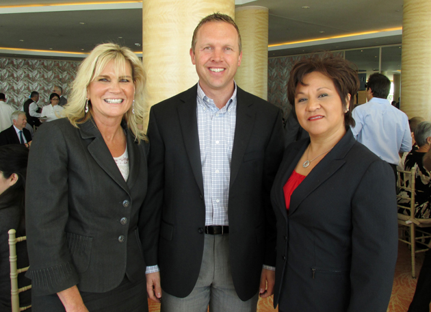 Joanne Funari, left, Jason Wilson and Ale Ortega-Botello from The Bank of Santa Barbara.