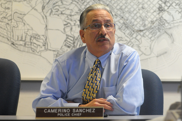 Santa Barbara Police Chief Cam Sanchez, seen here at a police and fire commission meeting, is retiring in February after 15 years with the city.
