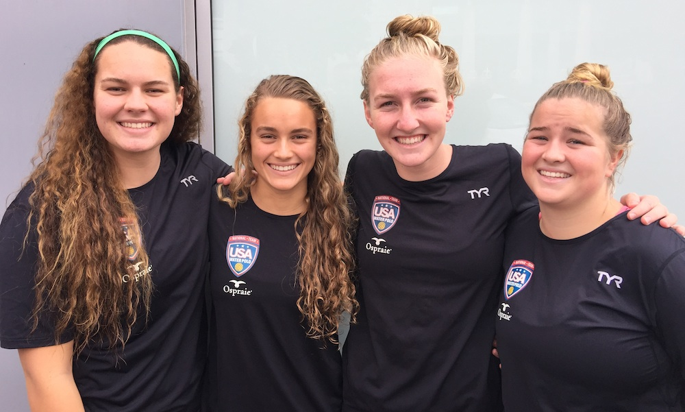 The Team USA Youth National Team included four members of the 805 Santa Barbara Water Club: from left, Abbi Hill, Jewel Roemer, Paige Hauschild and Ryann Neushul. Hill, Roemer and Neushul attend Dos Pueblos High and Hauschild is a senior at San Marcos.