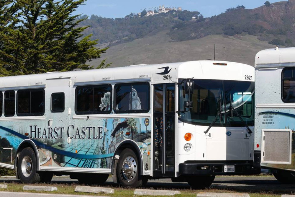 Hearst Castle's Silverado Stages buses.