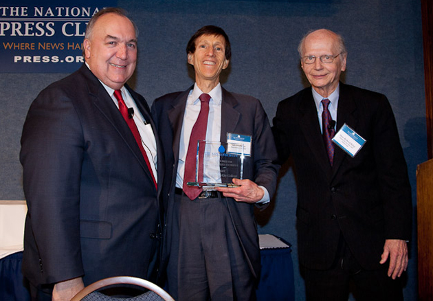 SBCC Acting Superintendent/President Dr. Jack Friedlander, center, accepts the Aspen Institute College Excellence Program Award as a top 10 finalist from John Engler, left, former Michigan governor and co-chair of the Aspen Prize Jury, and Richard Riley, former secretary of the U.S. Department of Education, former governor of South Carolina, and co-chair of the Aspen Prize Jury.