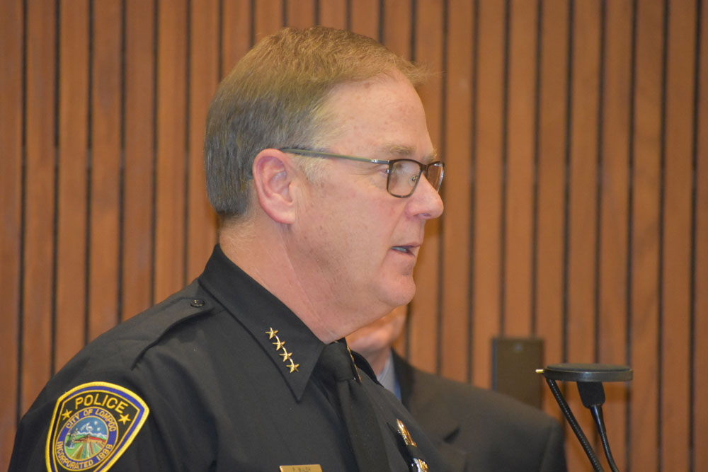 Lompoc police Chief Pat Walsh talks about a review of his agency's non-lethal use-of-force incidents during a City Council meeting earlier this week.