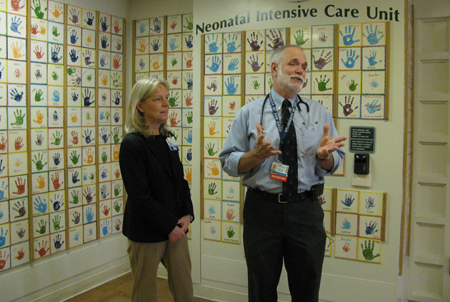 <p>Children&#8217;s Services Director Liz Lundquist and Medical Director Dr. Steven Barkley celebrate the 25th anniversary on Thursday of the Cottage Children&#8217;s Hospital&#8217;s Neonatal Intensive Care Unit.</p>