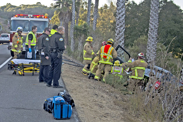 A woman suffered minor to moderate injuries Sunday when her Jeep crashed off Las Positas Road near Cliff Drive in Santa Barbara.
