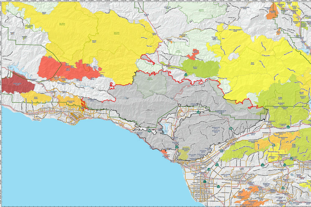 A perimeter map from Wednesday shows a considerable amount of containment of the Thomas Fire along the Santa Barbara front country. Fire officials were confident they could hold the blaze in check overnight Wednesday, despite an expected 'wind event,' and reduce most evacuation orders on Thursday.